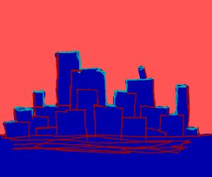 red and blue city