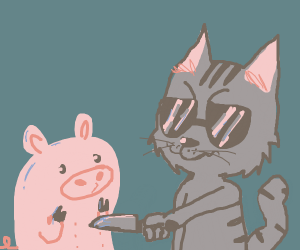 Cat threatens a pig with his knife