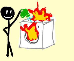 Watering a washing machine that's on fire