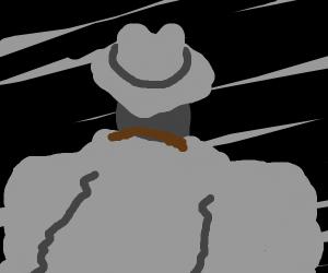 Man in grayscale wearing a moustache
