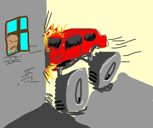 monster truck crashed