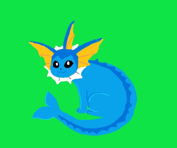 Vaporeon (Pokémon) on a green background