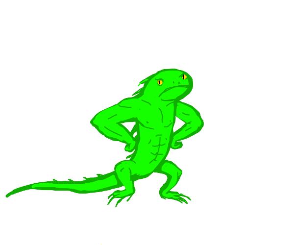 Buff little lizard is angry
