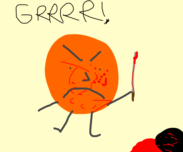 orange man is mad with stab stick