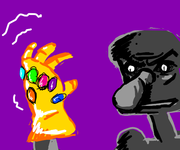 Squidward obtains the Infinity Gauntlet