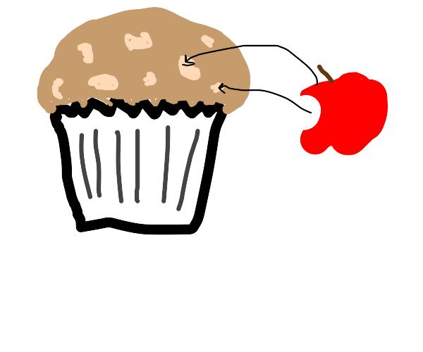 Mini cupcake with apple on top
