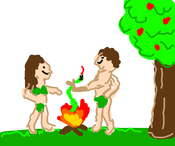 Adam and Eve kill snake and cook it