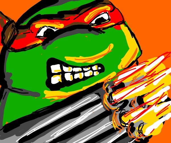 Raphael the TMNT's wielding an Uzi now.