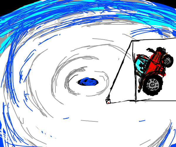 a tractor in a cyclone