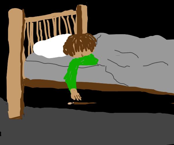 reaching for da paintbrush under da bed