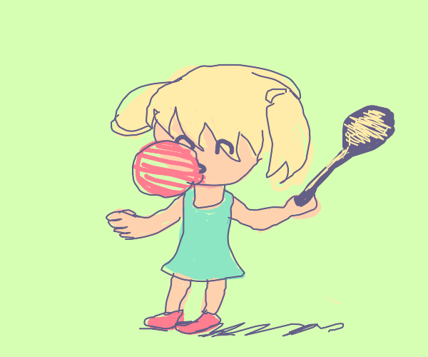 Bubblegum person with big spoon