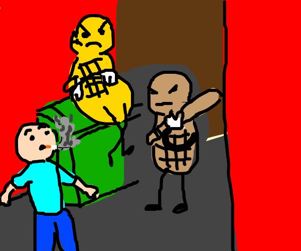 Smoker gets ambushed by peanuts
