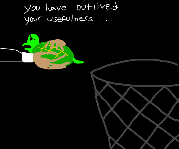 man thinks about throwing turtle in trash