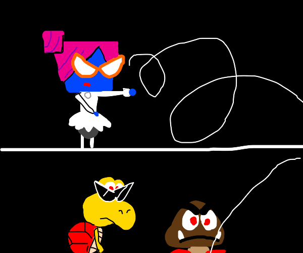 lady shoots goomba and koopa