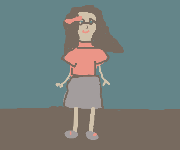 red shirted brown haired glasses girl