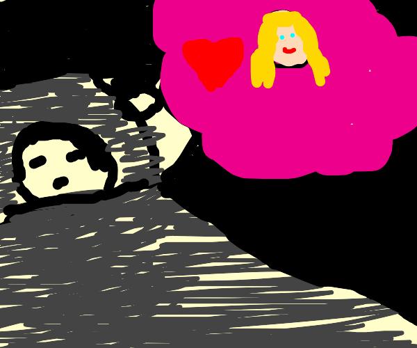 man dreams of beautiful woman