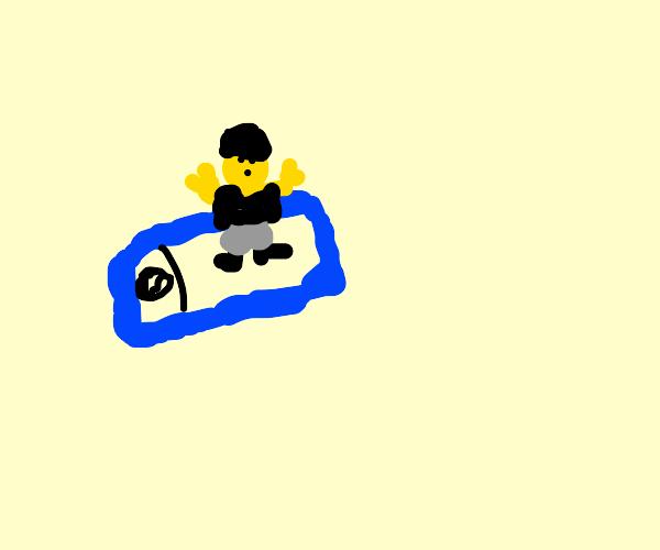 Lego man with helmet on blue phone