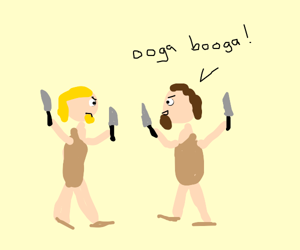 Cavemen fighting with knives