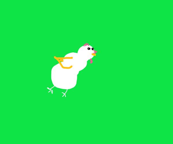 Snowman Chicken flying