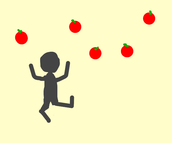 shadow man excited about floating tomatoes