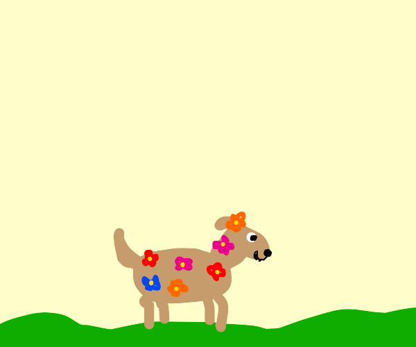 Dog covered in flowers
