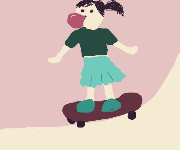 Girl skateboarding and chewing gum