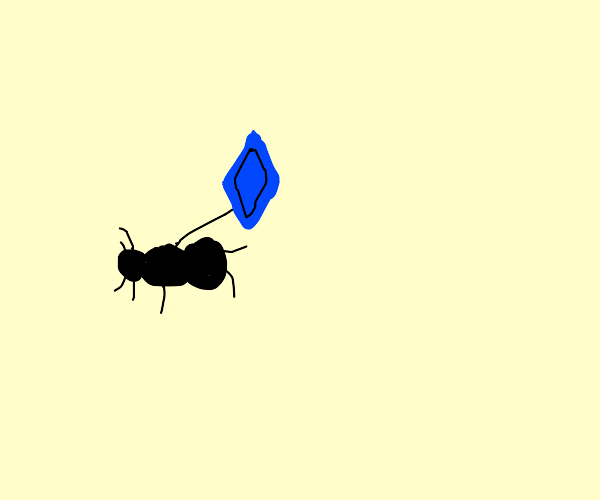 Ant holding a blue rupee