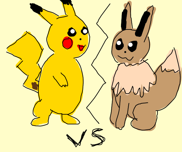 eevee and pikachu fight
