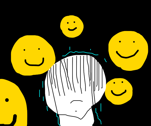 unhappy person surrounded by smiling people