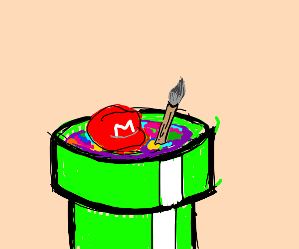 Mario drowning in paint