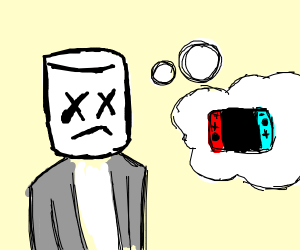 Marshmallow the DJ thinking about his Switch