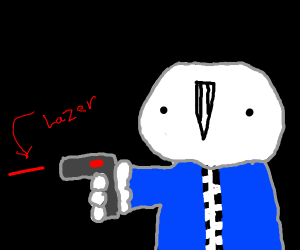 Sans shooting with a laser gun