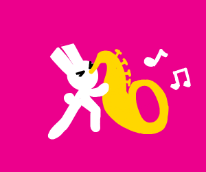 Bunnyman playing the saxophone