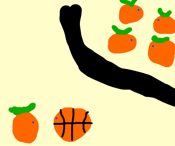 Lonely orange has a basketball for a friend