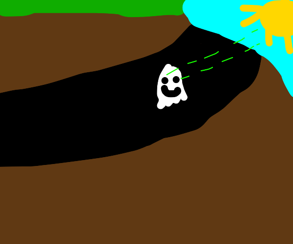 cartoon ghost is happy bc he finally sees sun