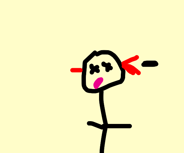 stickman dies from bullet in the head