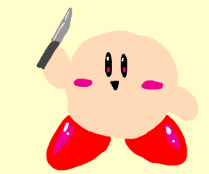 Kirby holding a knife