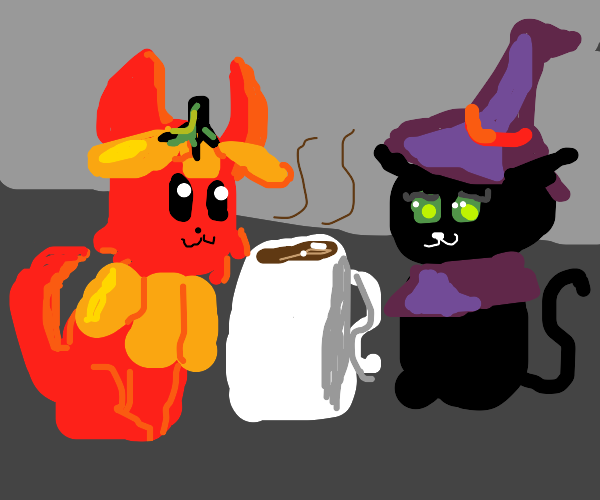 halloween cats with coffee