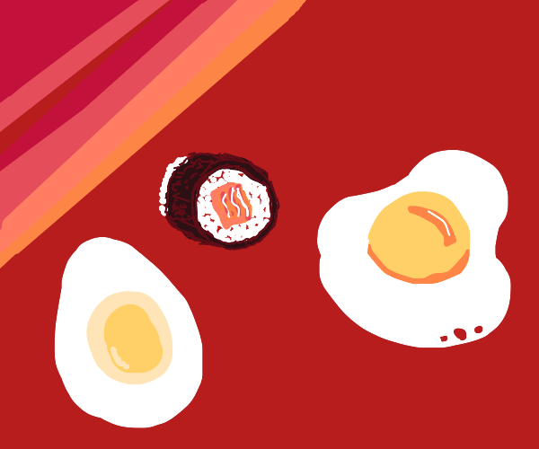 Maki roll and two eggs