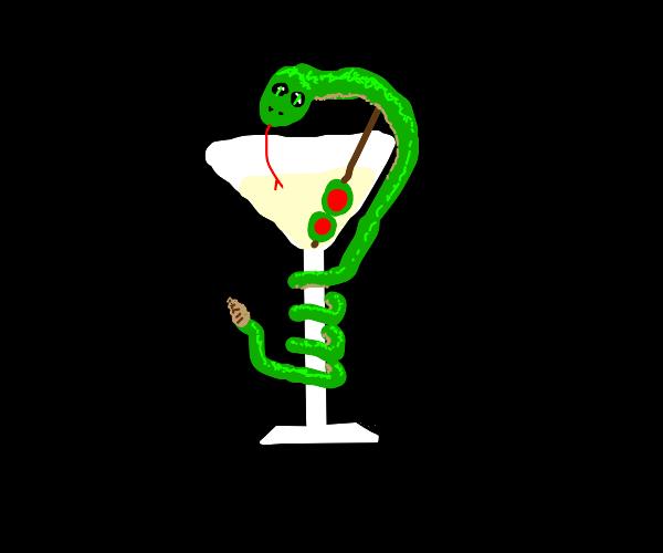 Snake enjoys a martini