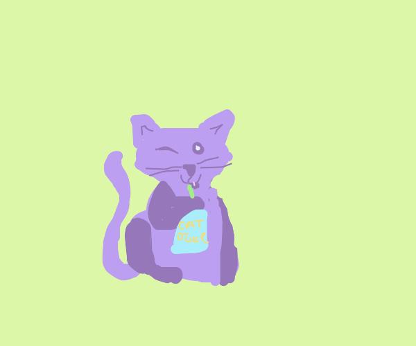 purple cat drinking cat juice