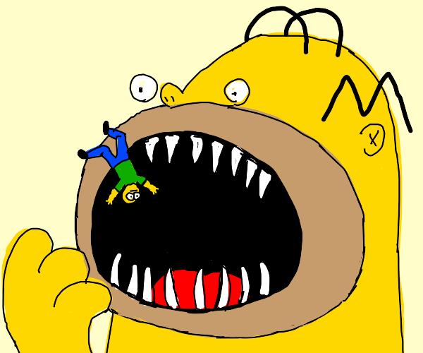 homer simpson eating someone