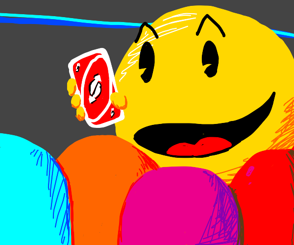 pacman pulls an uno reverse on the ghosts