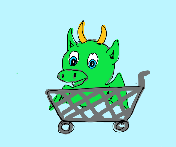 Baby dragon in a shopping cart