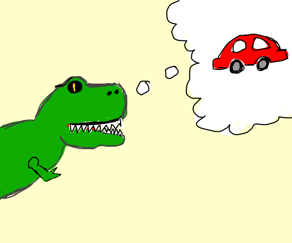 T-Rex dreaming of the future (cars)