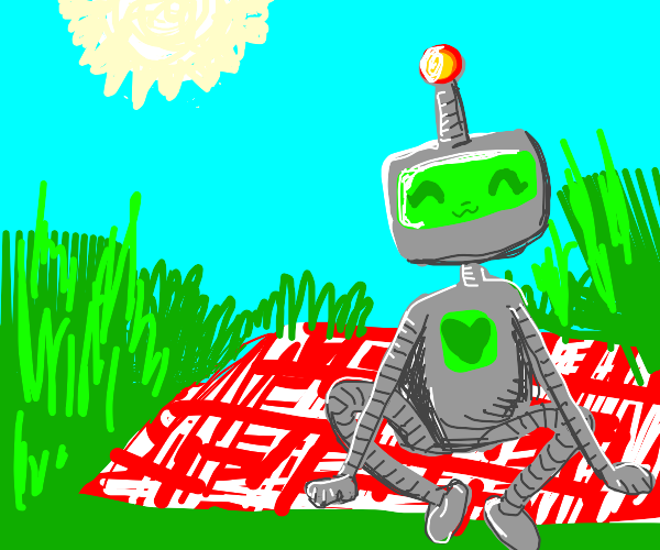 robot enjoying a sunny day