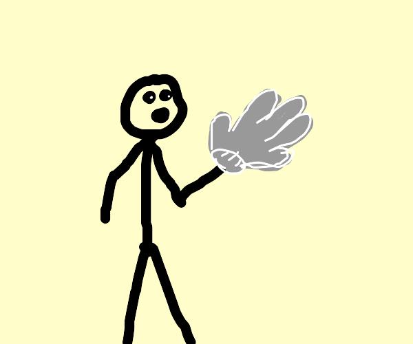 Stickman with giant glove