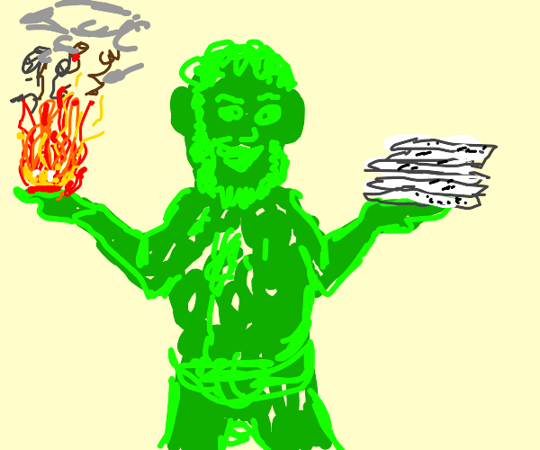Green man holding fire and paperwork