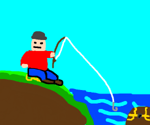 Person sitting on a key fishing a treasure
