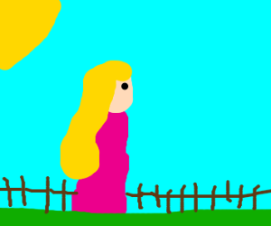 blonde woman with pink dress goes on a walk